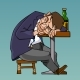 Cartoon Drunk Man in a Suit Fell Asleep Sitting - GraphicRiver Item for Sale