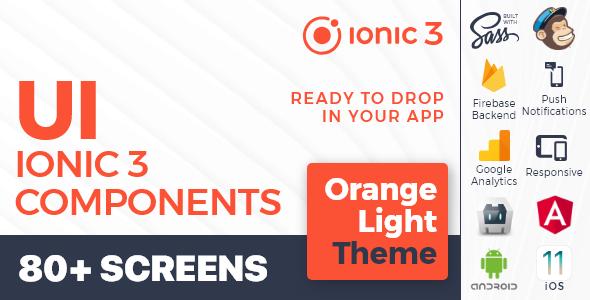 Ionic 3 / Angular 6 UI Theme /  Template App - Multipurpose Starter App - Orange Light - CodeCanyon Item for Sale