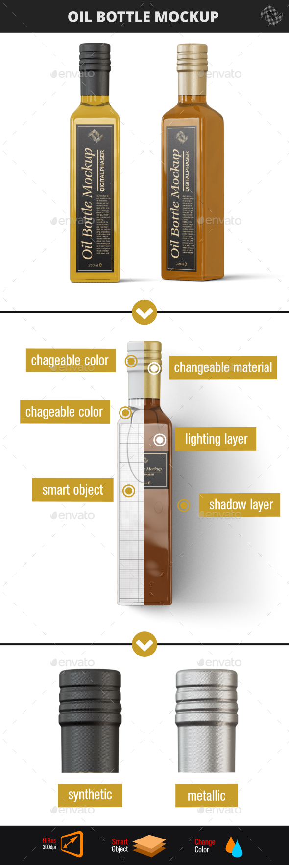 Glass Oil Bottle Mock-Up - Food and Drink Packaging