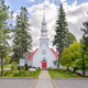 Mont-Tremblant village church front view in fall - PhotoDune Item for Sale