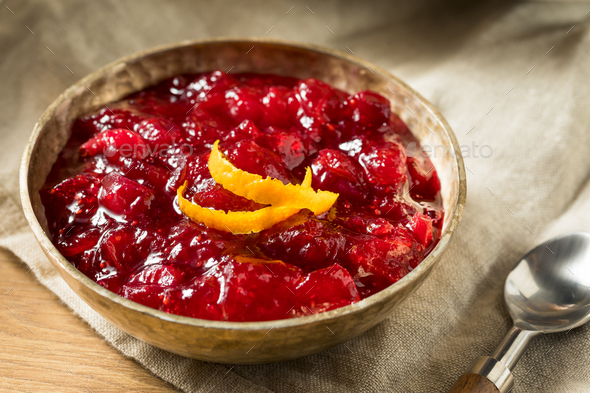 Sweet Homemade Cranberry Sauce - Stock Photo - Images