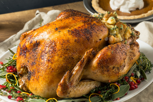Whole Roasted Turkey Dinner For Thanksgiving - Stock Photo - Images
