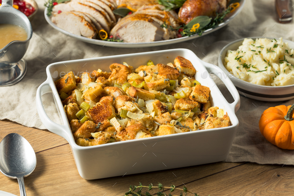 Homemade Bread Stuffing for Thanksgiving Dinner - Stock Photo - Images