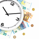 Clock surrounded by bills and euro coins - PhotoDune Item for Sale