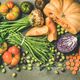 Healthy vegetarian Fall food cooking ingredients over concrete table - PhotoDune Item for Sale