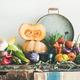 Fall vegetarian food ingredients variety on rustic cupboard - PhotoDune Item for Sale