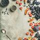 Greek yogurt, fresh fruit and chia seeds bowl, vertical composition - PhotoDune Item for Sale