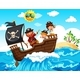 A Pirate And Happy Kids On Boat - GraphicRiver Item for Sale