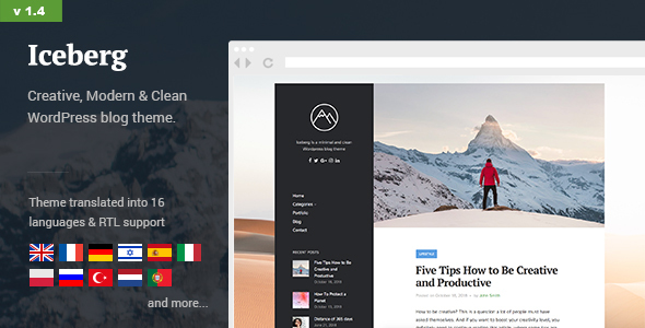 Iceberg - Simple & Minimal Personal Content-focused Wordpress Blog Theme (RTL support) - Personal Blog / Magazine