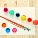 Watercolor palettes and paint brushes. Artist workplace - PhotoDune Item for Sale