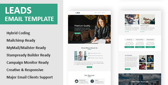 Leads - Multipurpose Responsive Email Template with Online StampReady Builder & Mailchimp Editor - Newsletters Email Templates