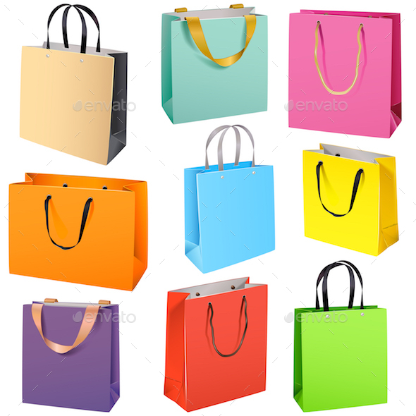 Vector Color Paper Bags - Retail Commercial / Shopping