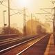 Passenger train at sunrise. - PhotoDune Item for Sale