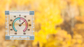 thermometer on window and blurred yellow forest - PhotoDune Item for Sale