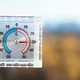 view of outdoor thermometer in hot autumn day - PhotoDune Item for Sale