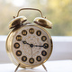 Alarm clock, morning time, blur glass window background - PhotoDune Item for Sale