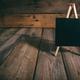 Blackboard on dark wooden background, copy space - PhotoDune Item for Sale