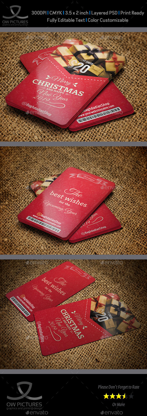 Christmas and New Year Gift Voucher Card Template - Cards & Invites Print Templates