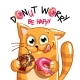 Vector Illustration of Cartoon Cat with Donuts - GraphicRiver Item for Sale