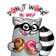 Vector Illustration of Cartoon Raccoon with Donuts - GraphicRiver Item for Sale