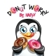 Vector Illustration of Cartoon Penguin with Donuts - GraphicRiver Item for Sale