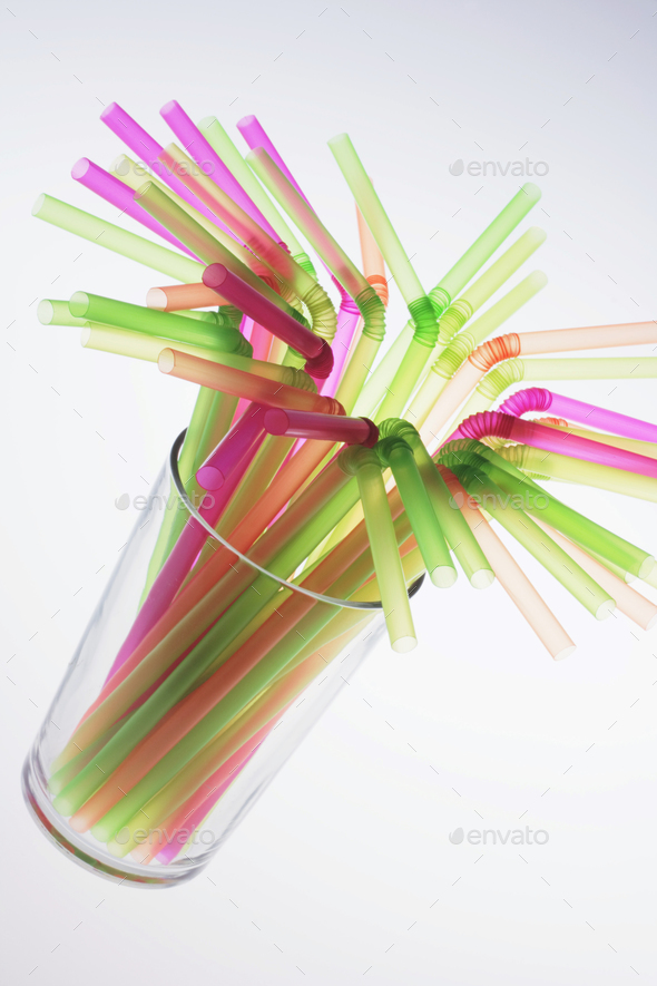 Drinking Straws in Glass - Stock Photo - Images