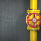 Gas pipeline valve on a wall. Space for text. Gas pressure contr - PhotoDune Item for Sale