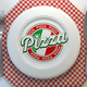 Pizza text on the plate in italian restaurant. Top view. - PhotoDune Item for Sale