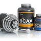BCAA  branched-chain amino acid with scoop and dumbbell.Bodybuil - PhotoDune Item for Sale