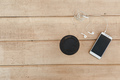 Phone with headphones and coffee on wood blank space - PhotoDune Item for Sale