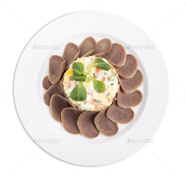 Russian salad with beef tongue. - Stock Photo - Images