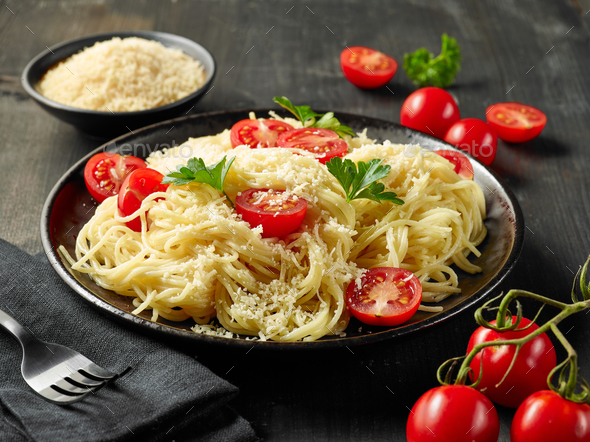 plate of pasta spaghetti - Stock Photo - Images