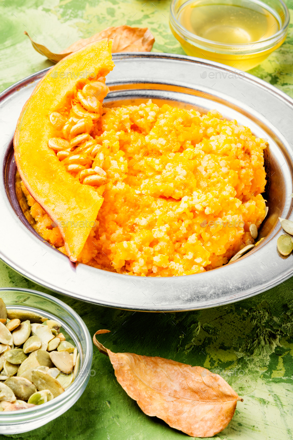 Autumn porridge with pumpkin - Stock Photo - Images