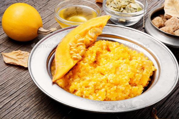 Autumn porridge with pumpkin - Stock Photo - Images