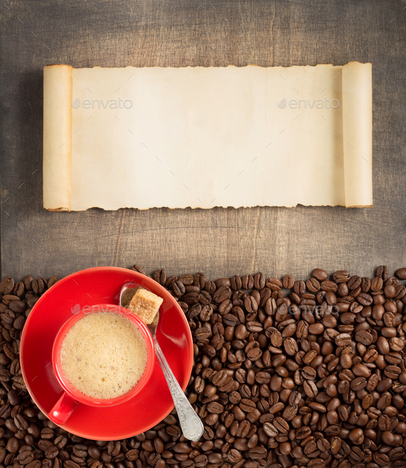 coffee concept on wooden background - Stock Photo - Images