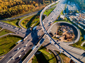 Aerial view of a freeway intersection traffic trails in Moscow. - PhotoDune Item for Sale