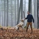 Man with dog in autumn forest - PhotoDune Item for Sale