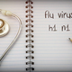 Stethoscope on notebook and pencil with flu virus h1 n1 words as - PhotoDune Item for Sale