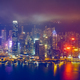 Aerial view of illuminated Hong Kong skyline. Hong Kong, China - PhotoDune Item for Sale