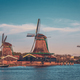 Windmills at Zaanse Schans in Holland in twilight after sunset - PhotoDune Item for Sale