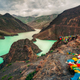 Landscape view of mountains, canyon and turquoise lake, Tibet - PhotoDune Item for Sale
