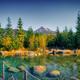 Autumn landscape panorama with spa, mountain peak and a lake, Krivan, Vysoke Tatry, Slovakia - PhotoDune Item for Sale