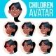 Girl Avatar Set Kid Vector. Black. Afro American - GraphicRiver Item for Sale