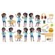 Girl Schoolgirl Kid Poses Set Vector. Black. Afro - GraphicRiver Item for Sale