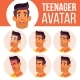 Teen Boy Avatar Set Vector. Arab, Muslim. Face - GraphicRiver Item for Sale