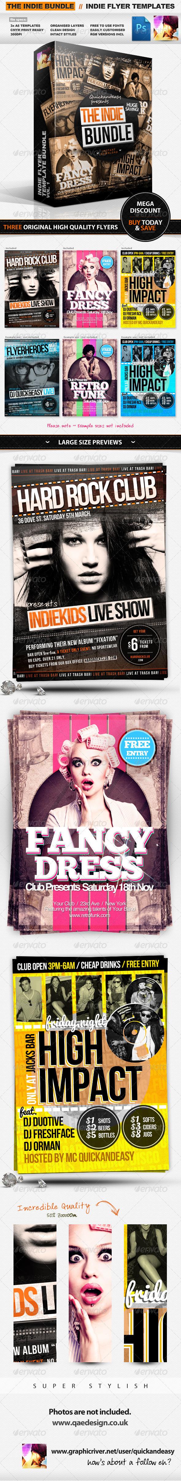 Indie Flyer Templates Bundle Vol.1 - Clubs & Parties Events