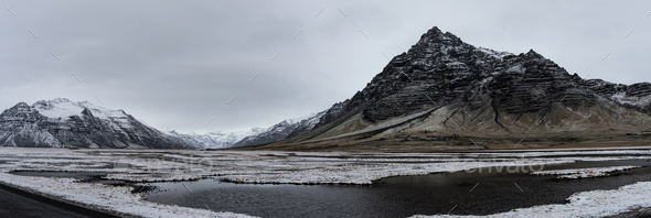 Beautiful panoramic winter landscape view of Iceland, snow cappe - Stock Photo - Images