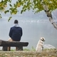 Man with dog in autumn nature - PhotoDune Item for Sale