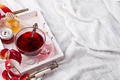Hot healthy rose tea with honey on wooden tray with autumn fallen leaves on knitted warm woolen - PhotoDune Item for Sale