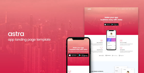 Astra | App Landing Page Template by TeamXcel